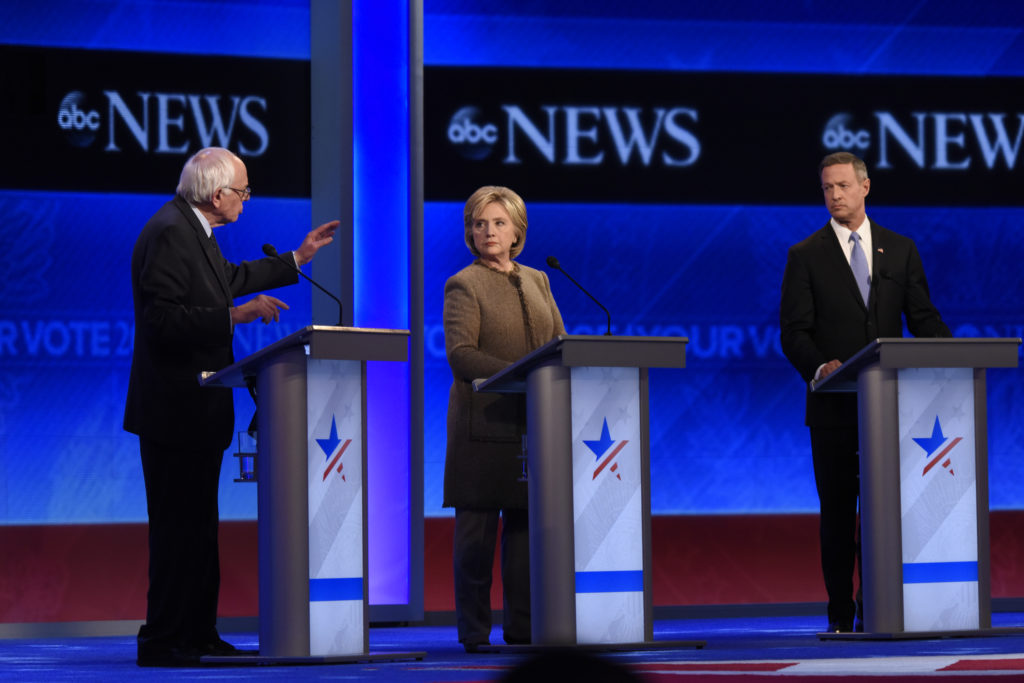 ABC NEWS - 12/19/15 - ABC News coverage of the Democratic Presidential debate from St. Anselm College in Manchester, NH, airing Saturday, Dec. 19, 2015 on the ABC Television Network and all ABC News platforms. (ABC/ Ida Mae Astute) BERNIE SANDERS, HILLARY CLINTON, MARTIN O'MALLEY